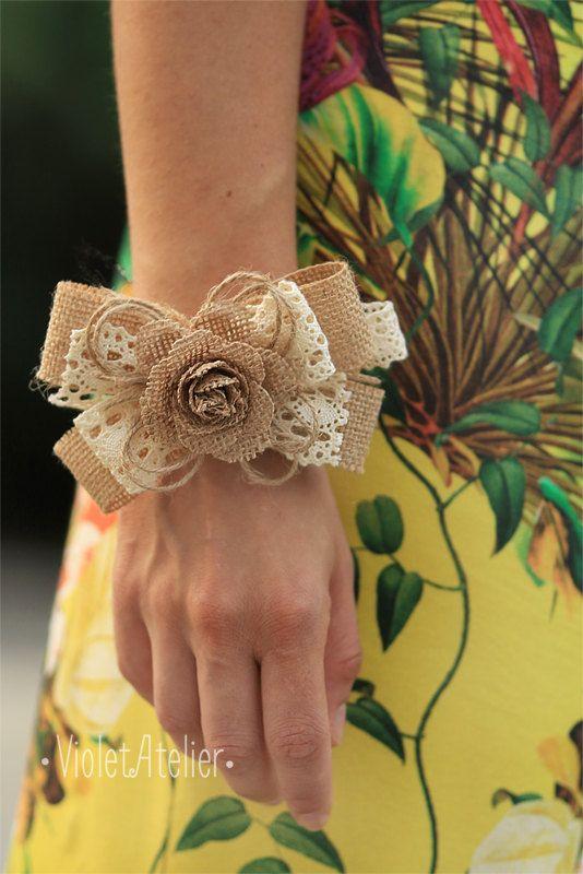 Lace burlap rose wrist corsage, bridesmaid rose corsage, rustic burlap corsage