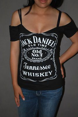 DIY Jack Daniels Top Shirt Whiskey Bar Rocker Chick Glam Rock     XS-XL