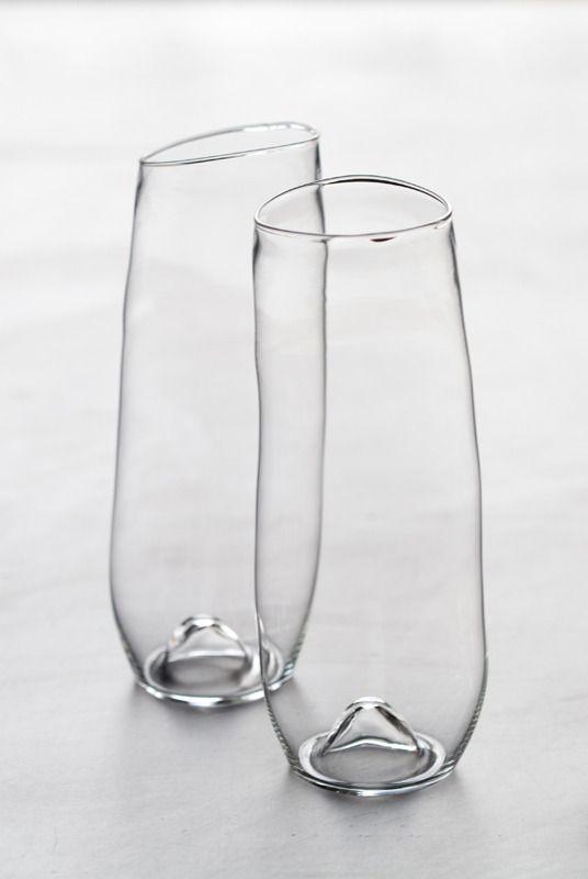 Lovely Irregular Hand-Blown Glass Vases