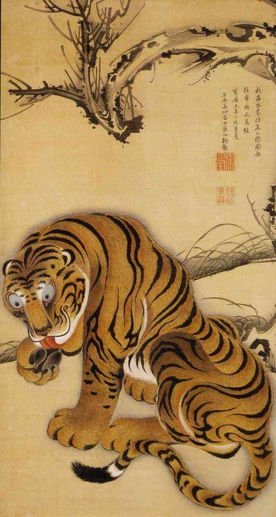 Itō Jakuchū (伊藤 若冲, 1716–1800) was a Japanese painter of the mid-Edo period when Japan had closed its doors to the outside world. Many of his paintings concern traditionally Japanese subjects, particularly chickens and other birds. Many of his otherwise traditional works display a great degree of experimentation with perspective, and with other very modern stylistic elements.