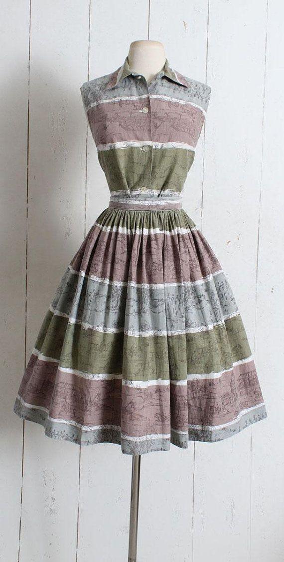 112be09b000d Vintage 1950s Skirt & Blouse Set Adorable equestrian/horse racing cotton  novelty print skirt