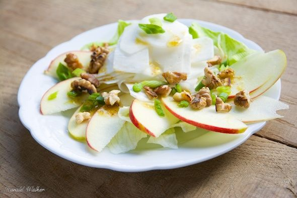 White Turnip and Apple Salad with Walnuts  This is a great salad that we enjoyed last night. Turnips are a vegetable we have just discovered and have been enjoying, especially raw in salads. White turnips, also known as May turnips are seasonal both in the springtime, and in fall. We are looking forward to having more and growing our own.