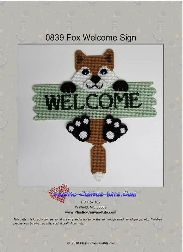 Cute Owl Welcome Sign Plastic Canvas Pattern or Kit