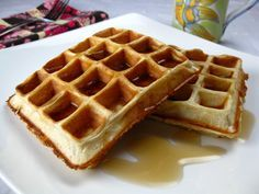 Protein Waffles:  4 egg whites, or 1/2 cup liquid egg substitute  1/2 cup (4 oz) low-fat cottage cheese  1/2 cup (40gm) plain instant oats  1 scoop (25 gm) vanilla or cake batter flavored protein powder, such as Optimum Nutrition 100% Whey Gold Standard, Cake Batter flavor  2 packets of Truvia Natural Sweetener, or other sweetener to taste  1/2 teaspoon baking powder    Combine all ingredients in a blender and process until smooth.
