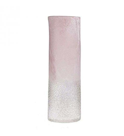 GLASS VASE IN PINK-WHITE COLOR 13Χ9Χ40