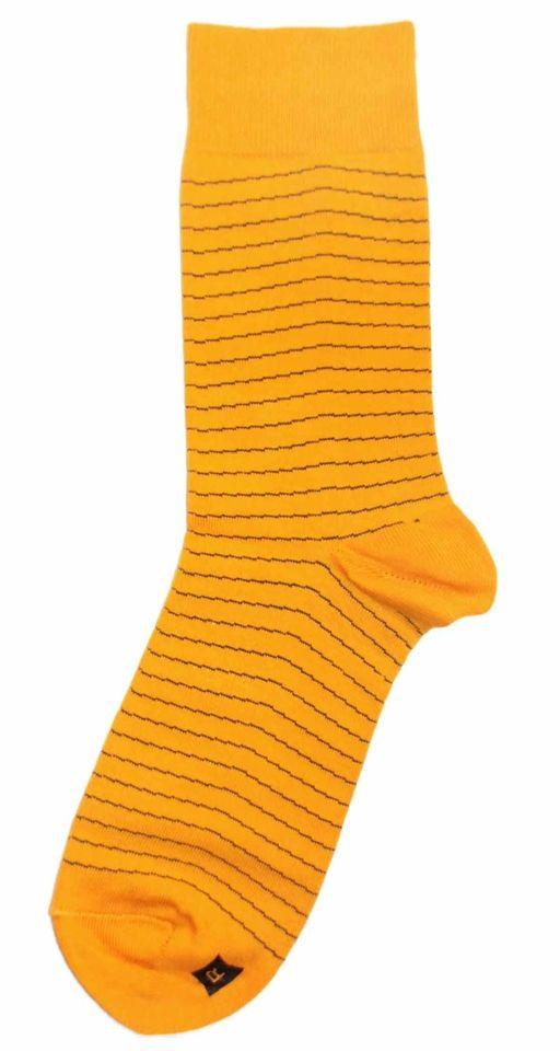 Yellow Charcoal-Grey Stripe Mens Dress Sock - Richer Poorer