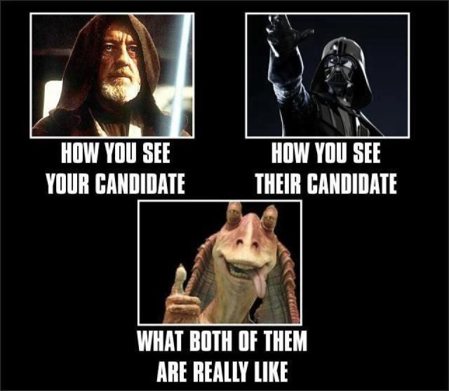 ee1e31ad49234b0dd74829e7fd189f31 star wars meme funny star wars 64 best presidential election 2016 let the funnies begin d,Star Wars Election Meme