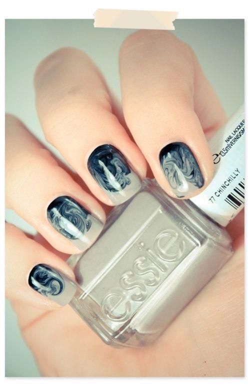 Swirled black and white nails.: Nails Art, Nails Design, Nailart, Color, Nailpolish, Nailsart, Nails Polish, Swirls, Water Marbles Nails