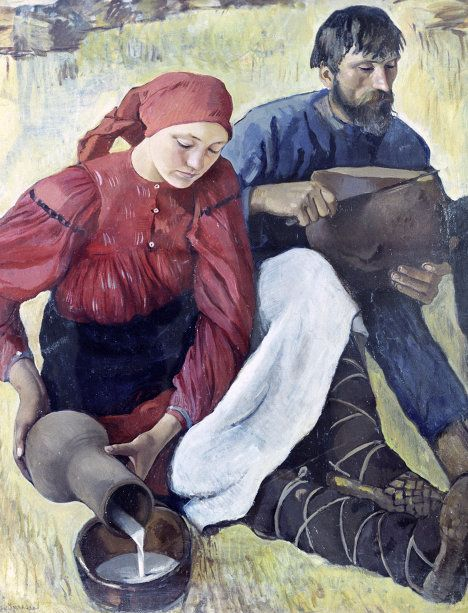 Zinaida Serebriakova, Peasants, 1914. (Serebriakova's Golden Age was the period from 1914 to 1917, when she painted a series of pictures dedicated to peasant life and the Russian village.)