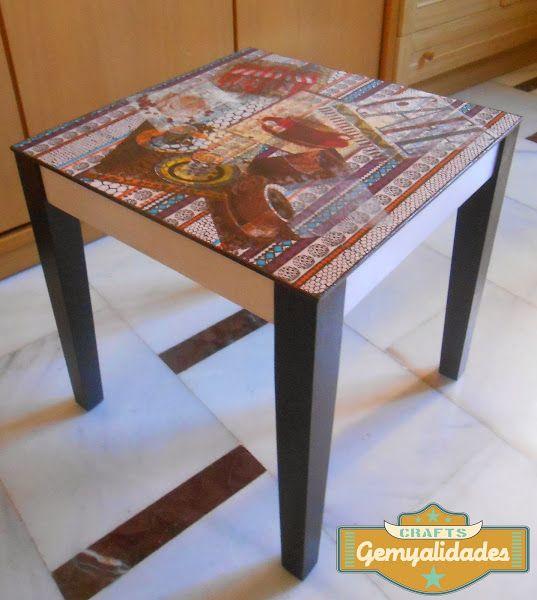 Mesa de café y bandeja restauradas con decoupage   Hacer bricolaje es facilisimo.com