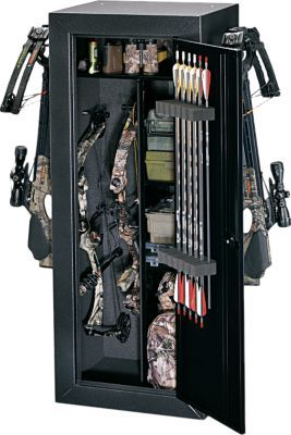 Heavy-duty all-steel bow storage cabinet with foam padding on the bow  side for protection. It can hold up to four standard-sized compound bows  when you remove the shelving. One full-width shelf and two half-shelves  provide ample storage for accessories. Custom foam arrow keeper on the  inside door holds 12 arrows.  Color:  Black.