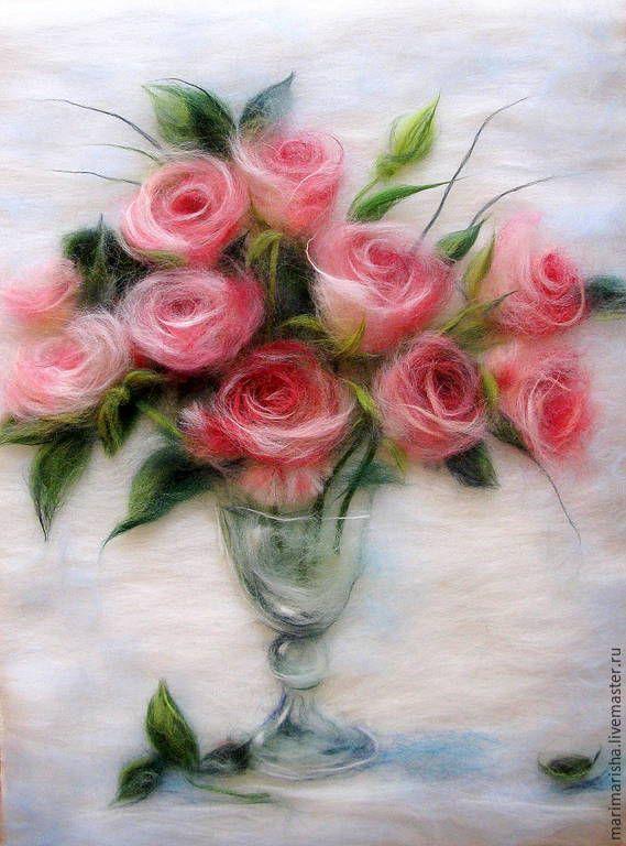 Купить Картина из шерсти Любимые розы - коралловый, картина из шерсти, живопись шерстью, купить подарок