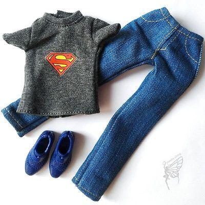 Boneca Barbie Fashion Roupa Superman T-shirt Conjunto Sapatos Para Boneco Ken