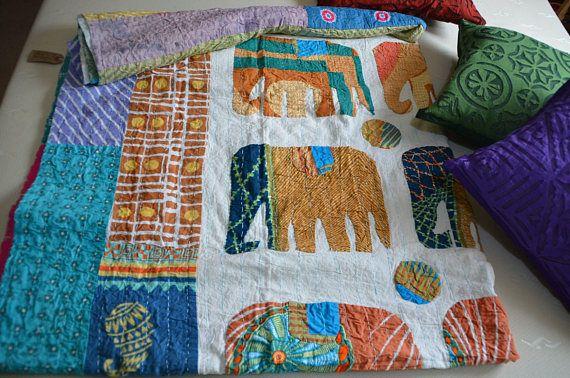 Elephant Patchwork Quilt Handmade Bedding Bedspread Applique Kantha Embroidered Indian Kantha Quilt