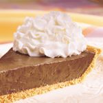 A dessert recipe with a filling of Reddi-wip, chocolate pudding and mini chocolate morsels in a graham cracker crust