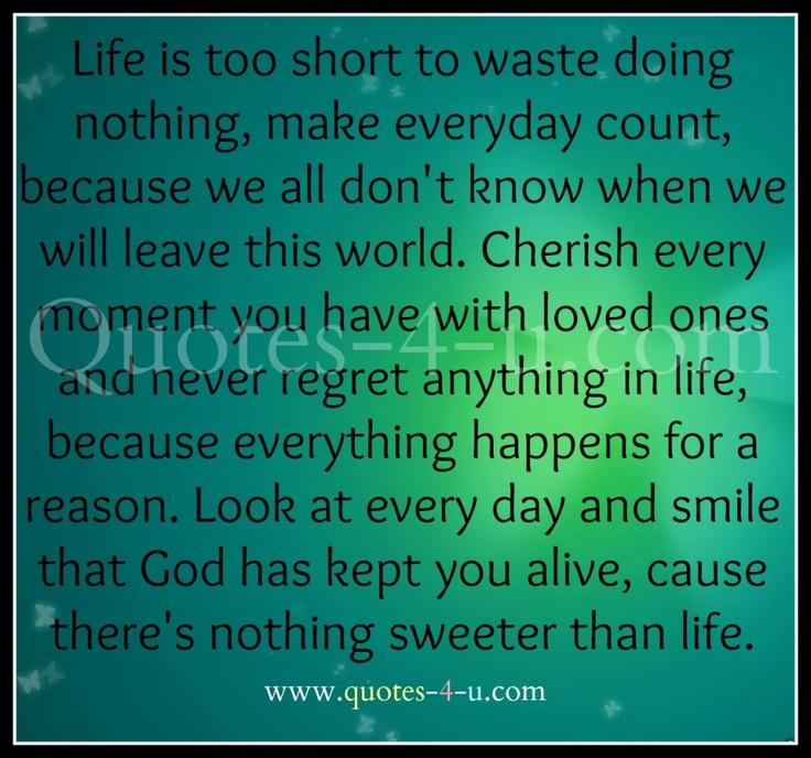 life is too short quote | Life is too short to waste doing nothing. | Quotes For You