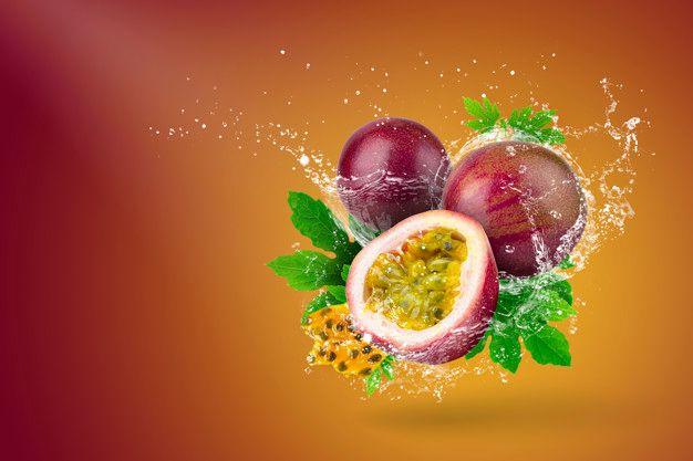 Water Splashing Of Passion Fruit On Red Background Passion Fruit Fruit Splash Fruit Photography