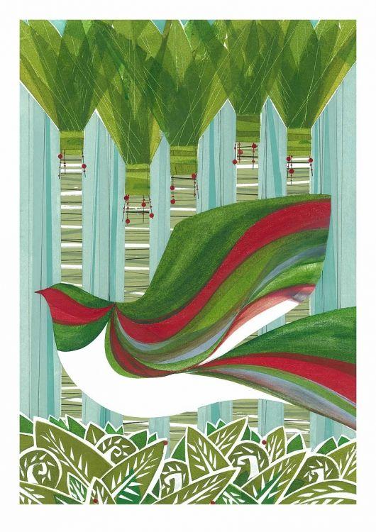 Kereru in Nikau by Holly Roach