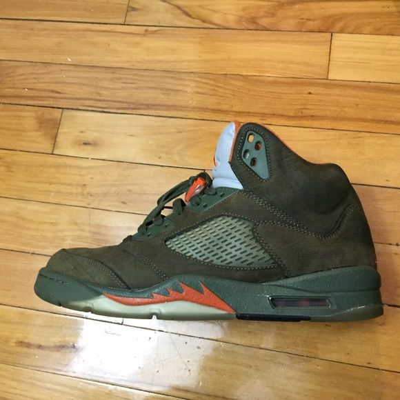 Nike Air Jordan Retro Olive 5 (2006) You are looking at a rare pair of size 11, retro olive 5's from 2006. Original box is not included. The clear sections of the insoles have yellowed as well as green paint chipping on the sole. Did I say these are super rare? Jordan Shoes Athletic Shoes