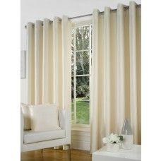 66x108in (168x274cm) Natural Cream Faux Silk Eyelet Curtains