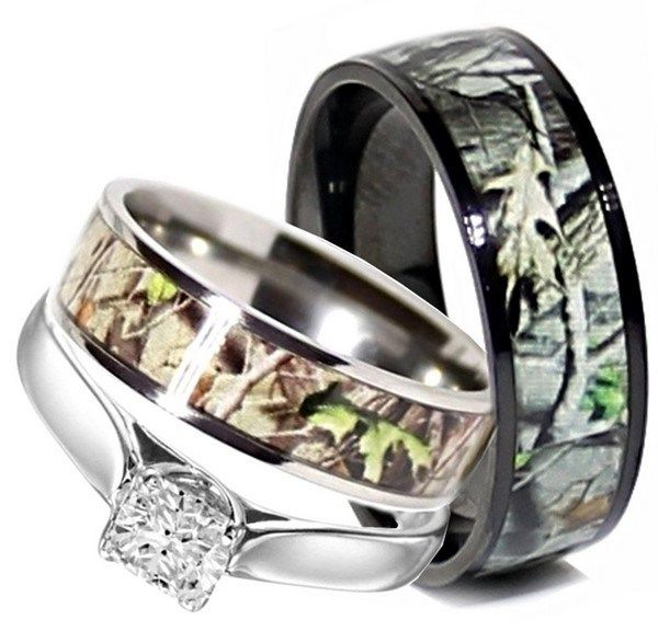 Camo Wedding Rings Set His And Hers 3 Stainless Steel Titanium Size Men Women