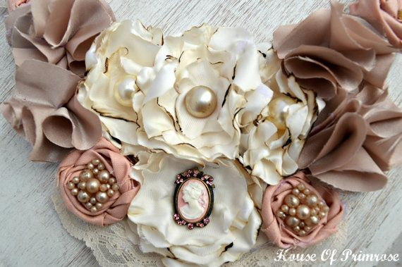 Fabric flower necklace bib style dusty rose