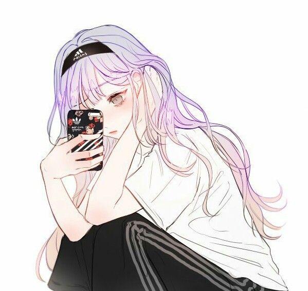 Anime girl purple hair