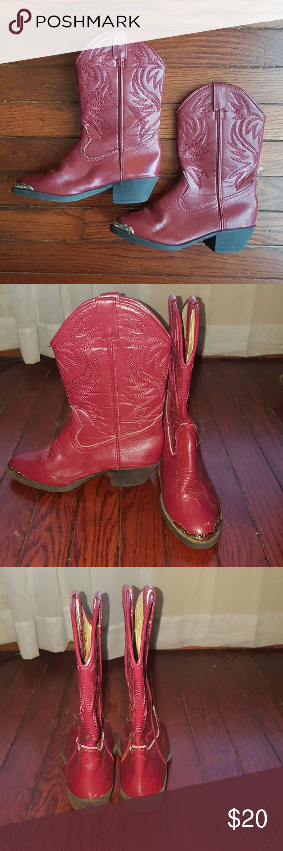 Size 6 Red Smoky Mountain Steel Toe Cowboy Boots Awesome paie of red Smoky Mountain steel toe cowboy boots. Some normal light signs of wear and sturdy soles. Smoky Mountain Shoes