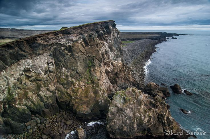 Cliff and shoreline at Reykjanesviti on the Reykjanes peninsula, Iceland. Rod Barbee.