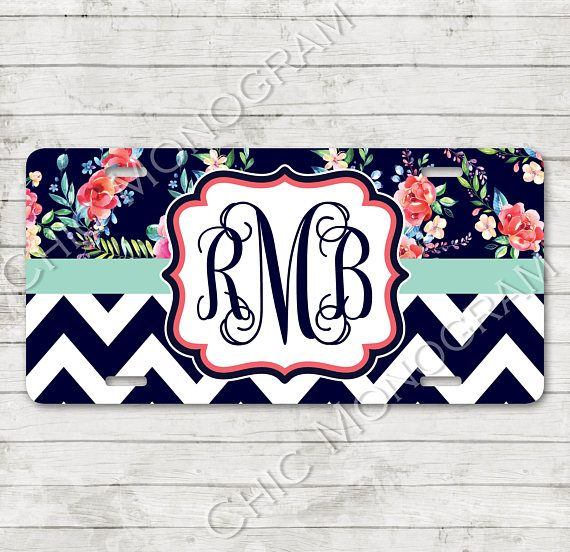 Our monogrammed license plates & plate frames are the PERFECT personalized way to customize your car with your own style and flair! For coordinating car accessories, click here: https://www.etsy.com/shop/ChicMonogram?ref=seller-platform-mcnav&search_query=floral+chevron Are you looking