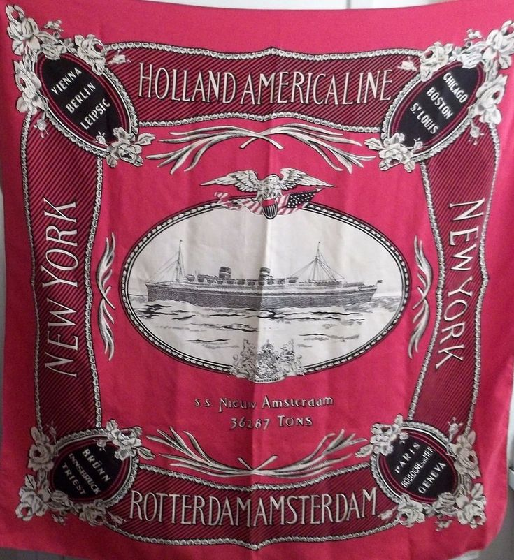 Vintage Holland America Line MS Nieuw Amsterdam Silk Scarf Of The 1938-1947 Ship