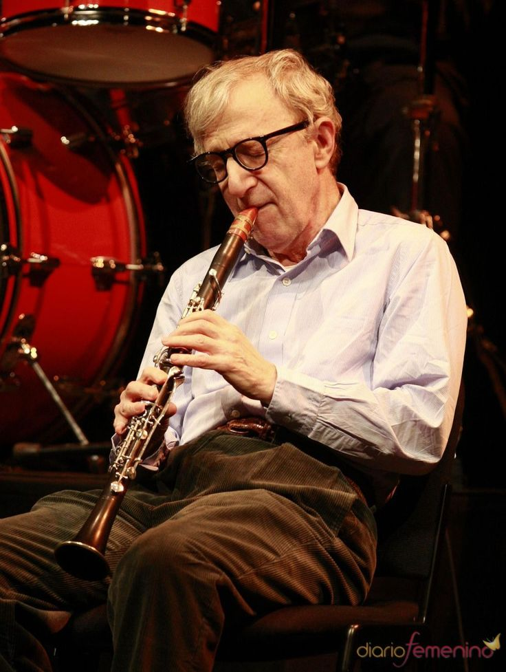 Woody Allen playing his clarinet.