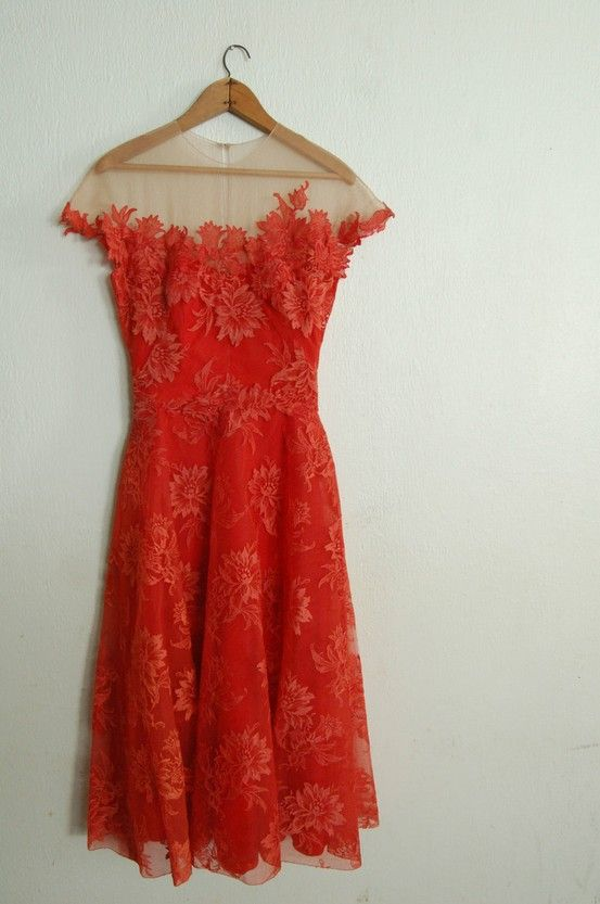Vintage 1950's Spiced Orange Dress: Fashion, Style, Orange Dresses, Red Dresses, Vintage Dresses, Vintage Lace, Gowns, Red Lace Dresses, 1950