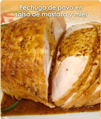 Pechuga de pavo en salsa de mostaza y miel.