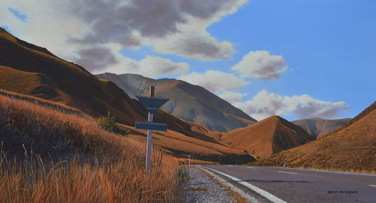 Brian Mccracken Artist - acrylic on canvas, Lindis Pass, New Zealand