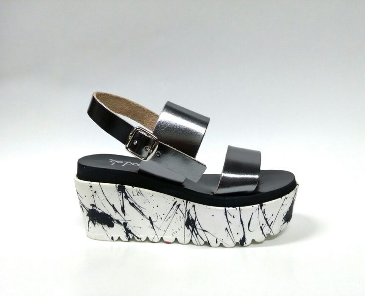 Splash duet _Gunmetal Handcrafted and painted leather wedge