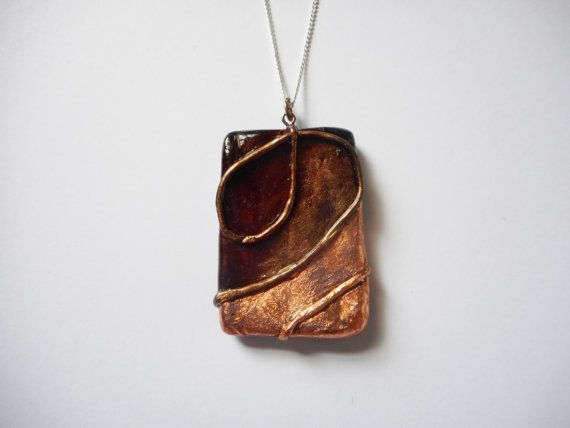 Bohemian Bronze Leaf Pendant  Large  Polymer Clay by SophieCarlon