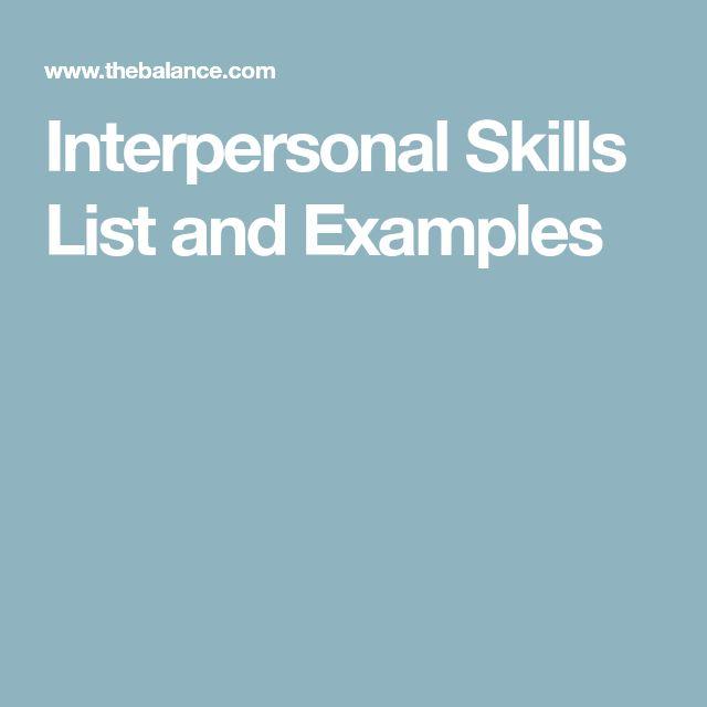 Best 25+ Interpersonal skills examples ideas on Pinterest - skills list