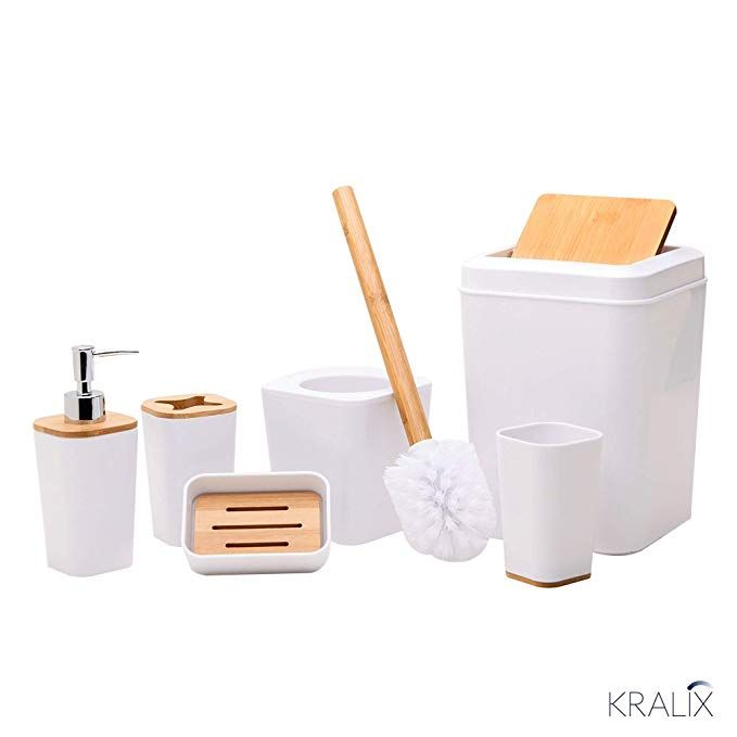 Amazon Com Kralix Bathroom Set 6 Pieces Plastic Bathroom