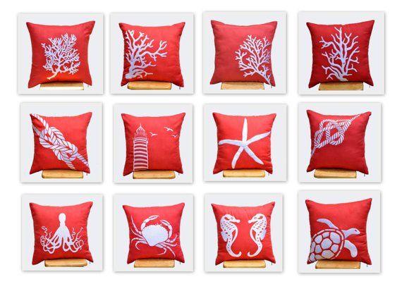 Nautical Pillow Decor Embroidered Throw Pillow Set Of 4 Coastal