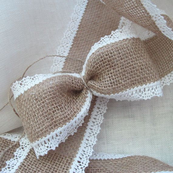 Burlap ribbon 3'', linen lace edged, Wedding chair sash ribbon, 3 yards roll, beige and white
