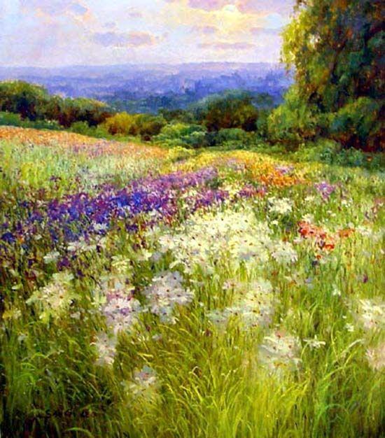 Garden+Oil+Paintings   Flower Garden Paintings ...