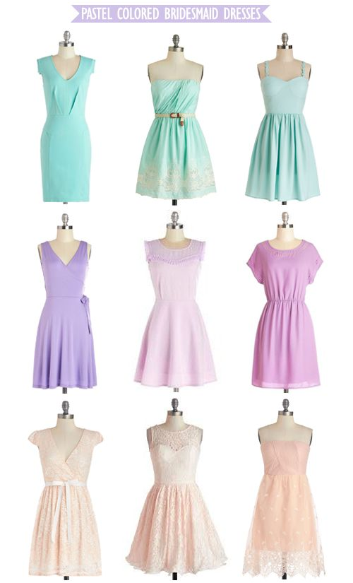 15 best images about bridesmaids dresses on pinterest for Pastel colored wedding dresses