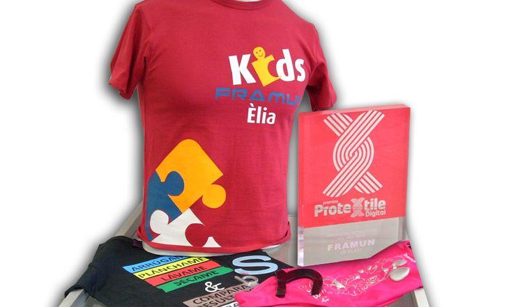 Premio feria #Protextile digital #impresión #textil, 100% #poliuretano. Personalización de camiseta mediante prensa de calor.