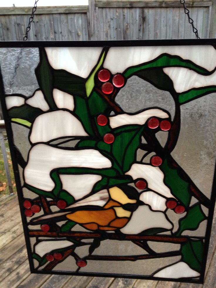 Chickadee panel by Sarah Sally Stained Glass