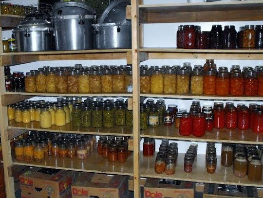 Amish canned goods on shelves in the basement usually