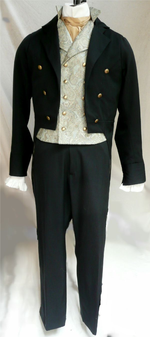 English Regency tailcoat, vest, and fall front trousers.  All custom made by Satin Shadow Designs.  https://www.etsy.com/listing/86518888/mans-english-regency-tails-wedding-groom?ref=shop_home_active_6