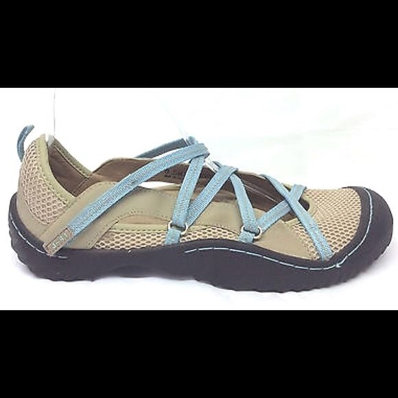 J-41 Jeep Athletic Shoes Tan & Blue Walking Sport New never worn, JEEP Engineered Traction Sole. Velcro closure, NWT! Tan & Blue. First photo isn't actual shoe style. J-41 Shoes Athletic Shoes