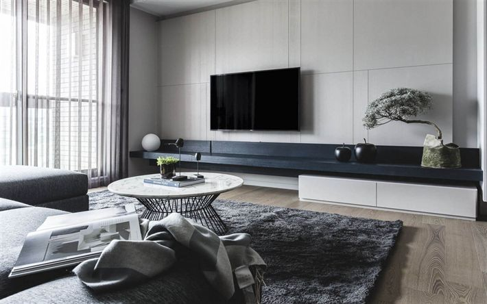 Download wallpapers living room stylish design, modern interior, living room, minimalism