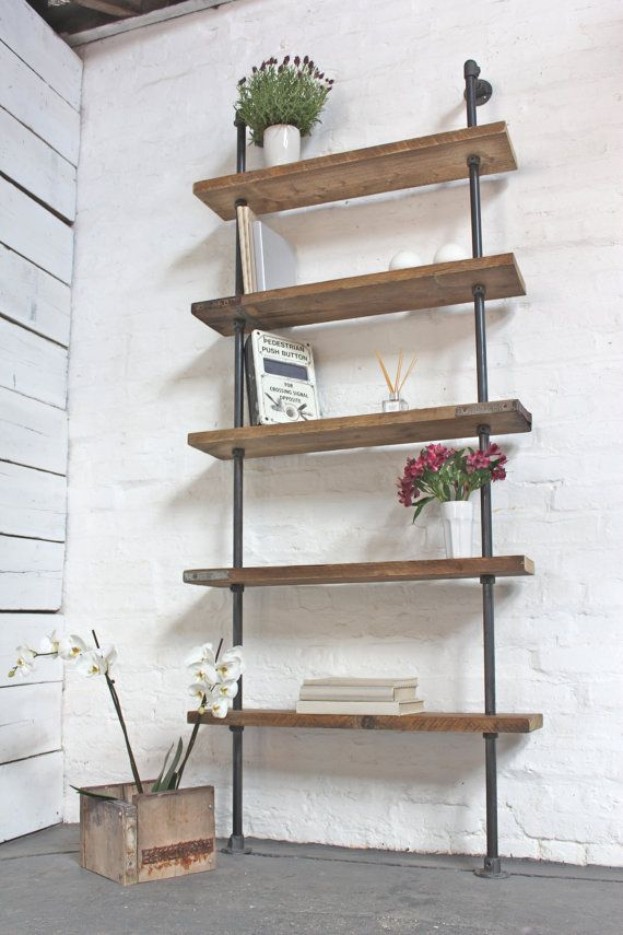 Reclaimed Waxed Scaffolding Boards and Dark Steel Pipe Shelving/Bookcase - Bespoke Urban Storage Shelving System by www.inspiritdeco.com
